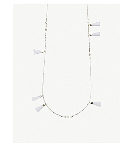 KENDRA SCOTT Augusta rhodium-plated and ivory mother-of-pearl tassel necklace (Rhodium