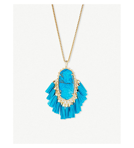 KENDRA SCOTT Betsy 14ct gold-plated aqua howlite tassel necklace (Gold