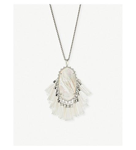 KENDRA SCOTT贝琪铑电镀象牙母亲珍珠流苏项链 (铑