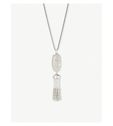 KENDRA SCOTT Eva silver-plated and ivory mother-of-pearl pendant necklace (Rhodium