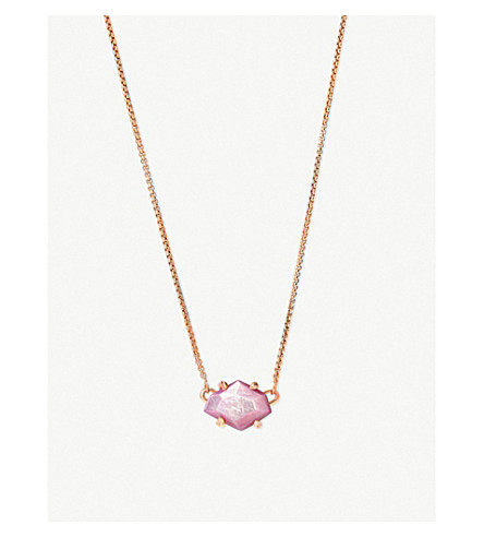 KENDRA SCOTT Ethan 14ct rose gold-plated and lilac mother-of-pearl necklace (Rose+gold