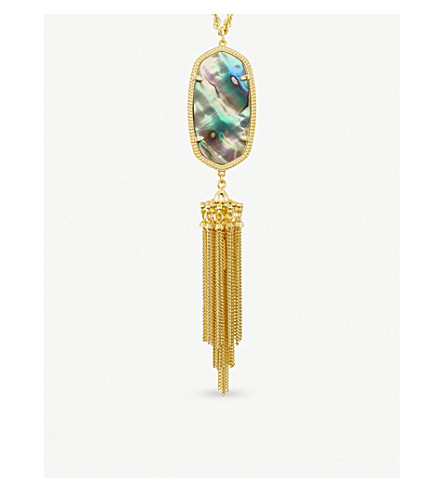 KENDRA SCOTT Rayne 14ct gold-plated and abalone shell long pendant necklace (Abalone