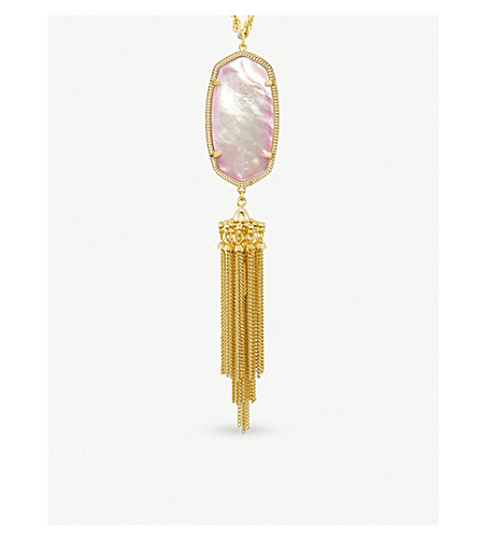 KENDRA SCOTT Rayne 14ct gold-plated and mother-of-pearl long pendant necklace (Blush+dyed+ivory+mop