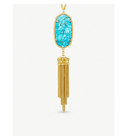 KENDRA SCOTT Rayne 14ct gold-plated and turquoise magnesite long pendant necklace (Bronze+veined+turquo