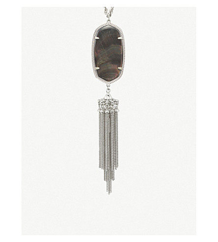 KENDRA SCOTT Rayne 14ct gold-plated and black mother-of-pearl long pendant necklace (Black
