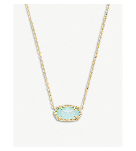 KENDRA SCOTT Elisa 14ct gold-plated and chalcedony glass pendant necklace (Gold