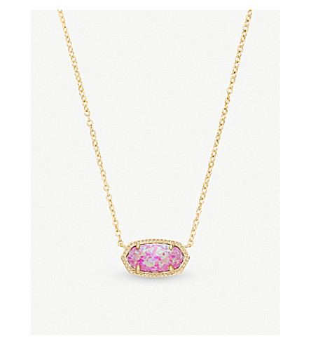 KENDRA SCOTT Elisa 14ct gold-plated and fuchsia kyocera opal pendant necklace (Fuchsia