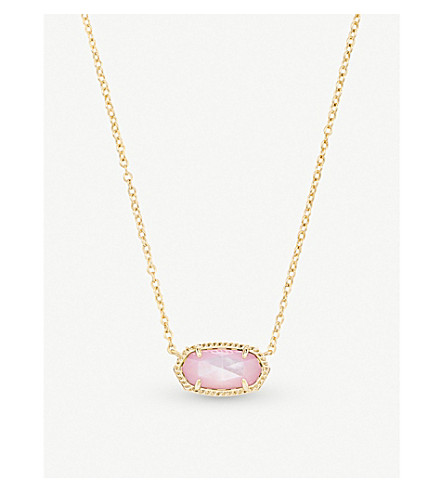 KENDRA SCOTT Elisa 14ct gold-plated and ivory mother-of-pearl pendant necklace (Blush+dyed+ivory+mop