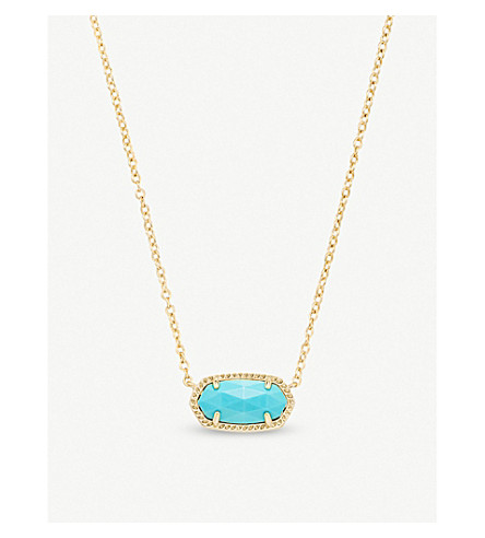 KENDRA SCOTT Elisa 14ct gold-plated and turquoise magnesite pendant necklace (Turquoise