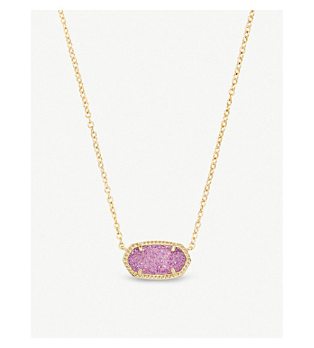 KENDRA SCOTT Elisa 14ct gold-plated and violet drusy pendant necklace (Violet