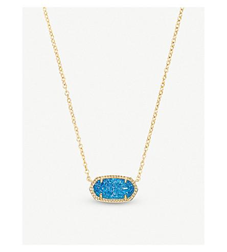 KENDRA SCOTT Elisa 14ct gold-plated and cobalt drusy pendant necklace (Cobalt