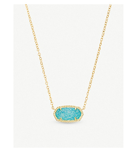 KENDRA SCOTT Elisa 14ct gold-plated and teal drusy pendant necklace (Teal