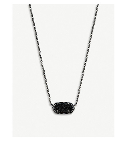 KENDRA SCOTT Elisa gun-metal plated and druzy necklace (Black