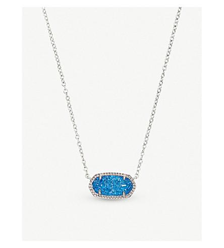 KENDRA SCOTT Elisa rhodium-plated and cobalt drusy pendant necklace (Cobalt