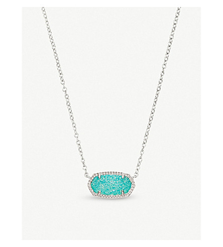 KENDRA SCOTT Elisa rhodium-plated and teal drusy pendant necklace (Teal