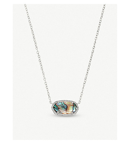 KENDRA SCOTT Elisa rhodium-plated and abalone shell pendant necklace (Abalone