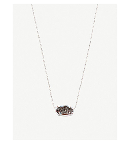 KENDRA SCOTT Elisa 14ct gold-plated and drusy stone necklace (Platinum
