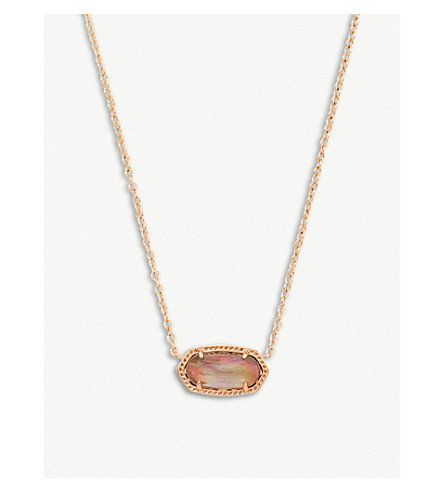 KENDRA SCOTT Elisa 14ct rose gold-plated and brown mother-of-pearl necklace (Rose+gold