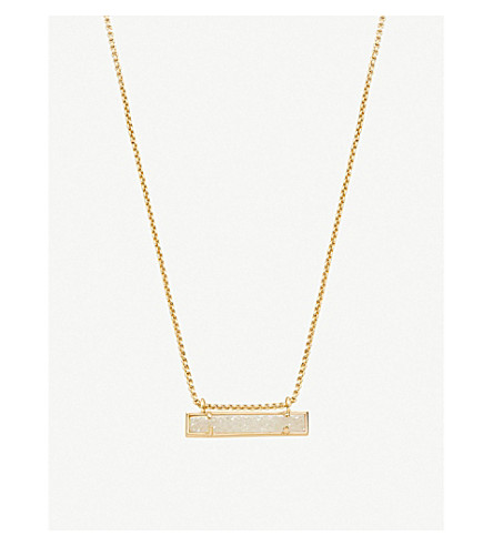 KENDRA SCOTT Leanor 14ct gold-plated and iridescent drusy bar pendant necklace (Iridescent
