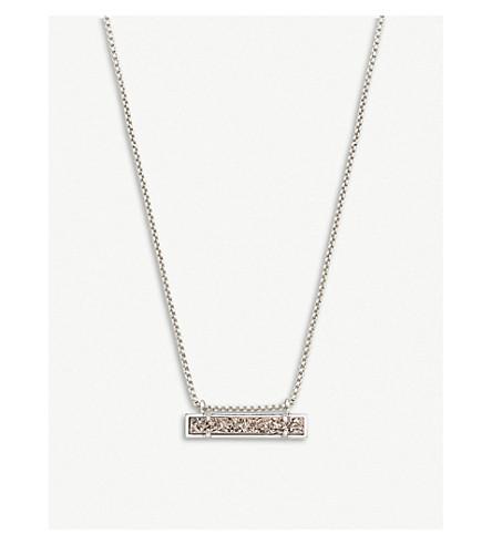 KENDRA SCOTT Leanor rhodium plated platinum drusy bar pendant necklace (Platinum