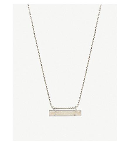 KENDRA SCOTT Leanor rhodium plated iridescent drusy bar pendant necklace (Iridescent