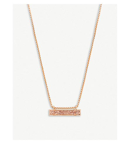 KENDRA SCOTT Leanor 14ct rose-gold plated gold drusy bar pendant necklace (Rose+gold