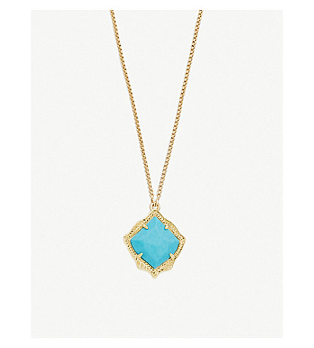 KENDRA SCOTT Kacey 14ct gold-plated and Bronze Veined Turquoise necklace (Turquoise
