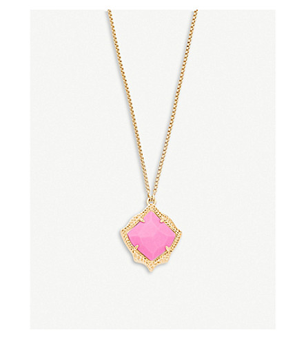 KENDRA SCOTT Kacey 14ct gold-plated and Magenta Magnesite necklace (Magenta