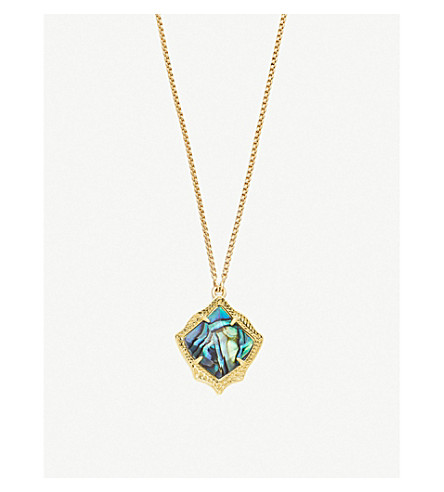KENDRA SCOTT Kacey 14ct gold-plated and Abalone Shell necklace (Abalone