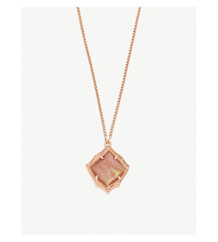 KENDRA SCOTT Kacey 14ct gold-plated and Brown Mother of Pearl necklace (Brown