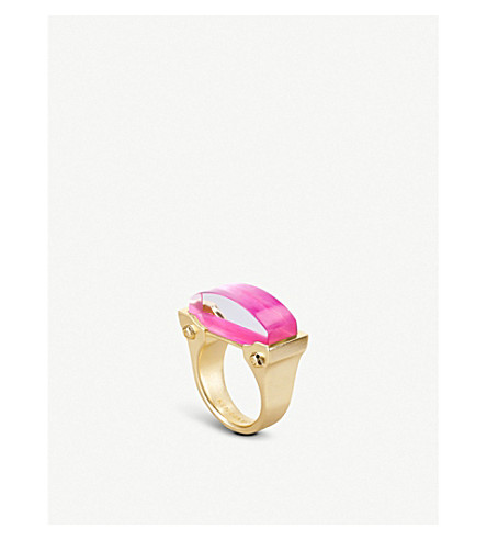 KENDRA SCOTT Jeanne 14ct gold-plated Mother of Pearl cocktail ring (Magenta