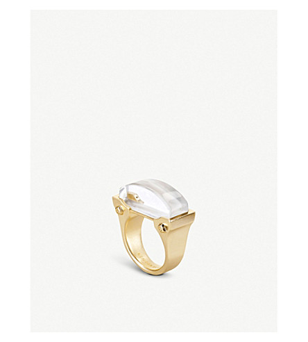 KENDRA SCOTT Jeanne 14ct gold-plated Ivory Mother of Pearl cocktail ring (Ivory