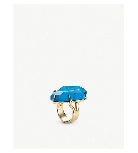 KENDRA SCOTT Megan gold-tone and aqua howlite ring (Gold