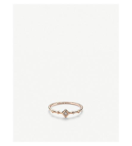 KENDRA SCOTT波浪14ct 玫瑰色金子和金刚石圆环 (14 k + 玫瑰色 + 金子