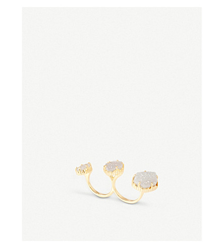 KENDRA SCOTT Naomi gold-plated double ring (Iridescent