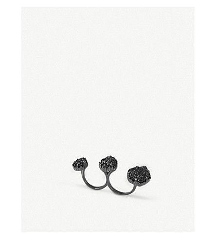 KENDRA SCOTT Naomi drusy two-finger ring (Gunmetal