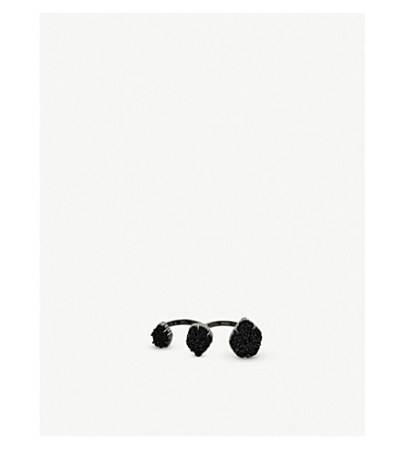 KENDRA SCOTT Naomi gunmetal-plated and drusy double ring (Gunmetal