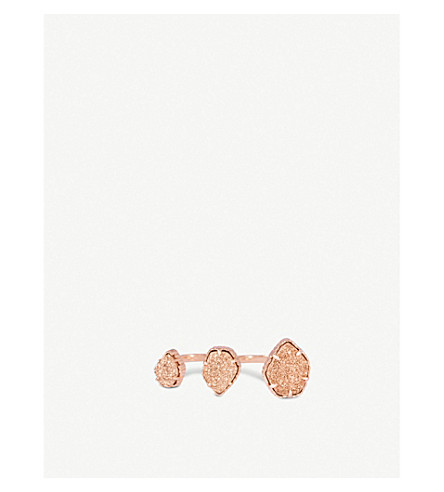 KENDRA SCOTT Naomi rose gold-plated and rose gold drusy double ring (Rose+gold