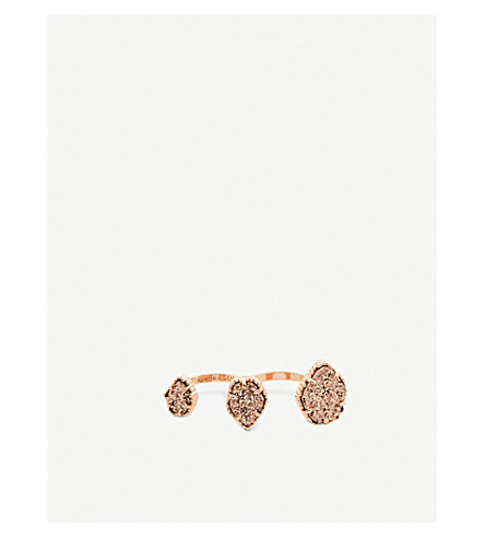 KENDRA SCOTT Naomi 14ct rose-gold plated and drusy double ring (Rose+gold