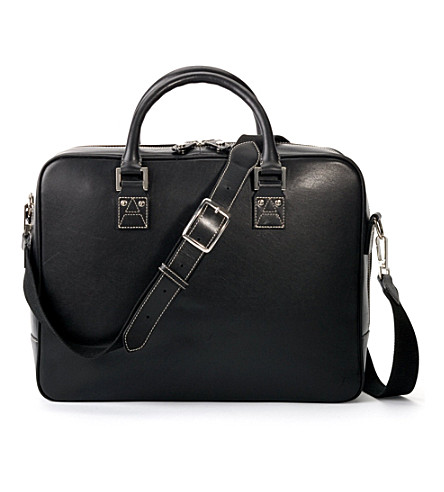 ASPINAL OF LONDON Large mount street bag - black & cobalt (Smooth black &cobalt