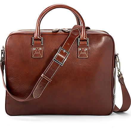 ASPINAL Executive leather laptop and business case (Smooth cognac &stone