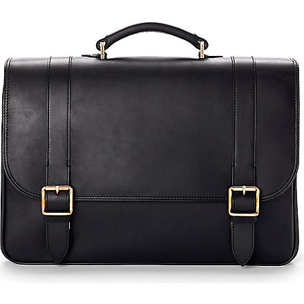 ASPINAL Satchel briefcase (Smooth black &stone