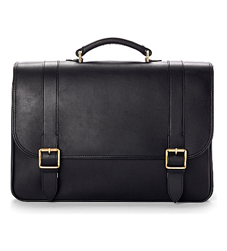 ASPINAL OF LONDON Satchel briefcase  in smooth black & sto (Smooth black &stone