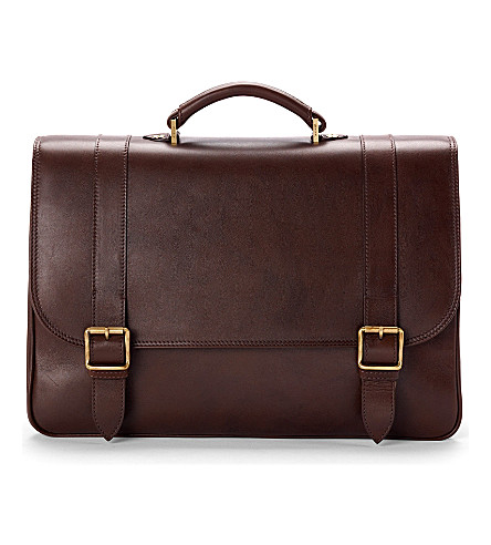 ASPINAL OF LONDON Satchel briefcase smooth chocolate & sto (Chocolate