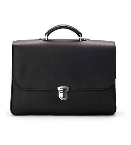 ASPINAL OF LONDON City leather laptop briefcase (Black