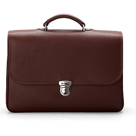 ASPINAL OF LONDON City leather laptop briefcase (Brown pebble &stone