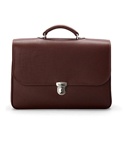 ASPINAL OF LONDON City briefcase brown pebble calf & stone (Brown pebble &stone