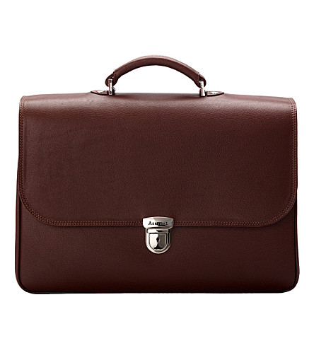 ASPINAL OF LONDON City leather briefcase (Brown