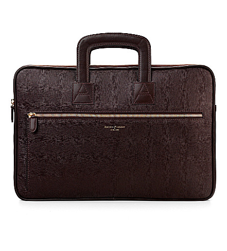 ASPINAL OF LONDON Connaught saffiano leather document case (Brown