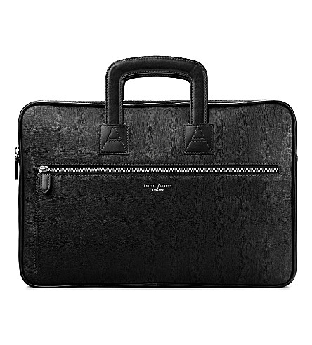ASPINAL OF LONDON Connaught leather document briefcase (Black